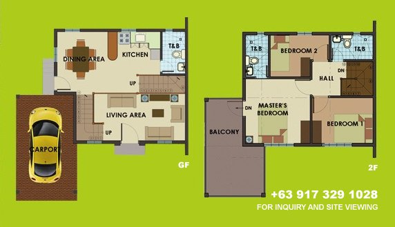 Dorina Uphill Floor Plan House and Lot in Camella Carson
