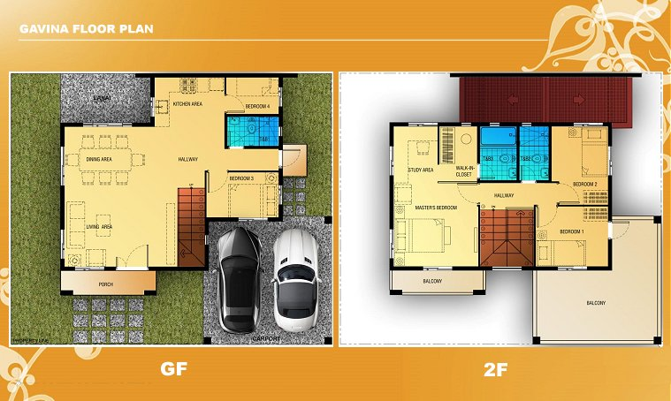 Gavina Floor Plan House and Lot in Camella Carson